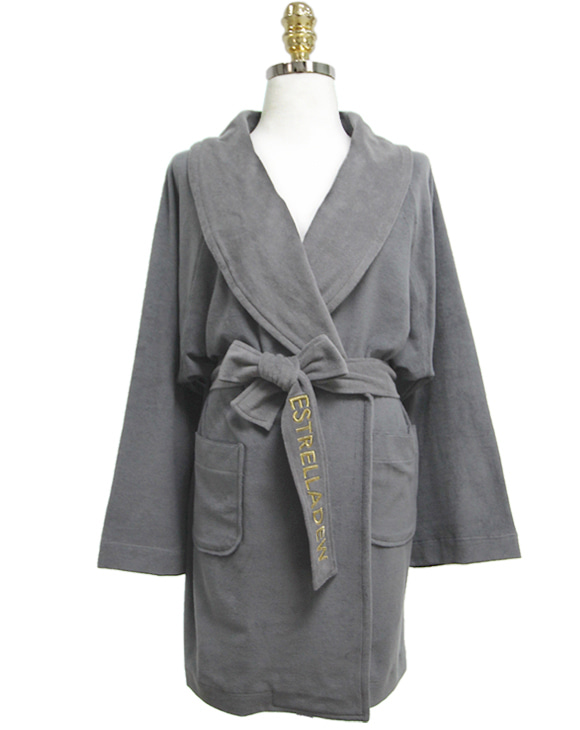 [HOTEL] FANCY MIX BATH ROBE - nebula gray/glitter gold